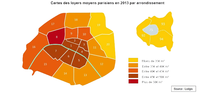 le prix du loyer au m tre carr paris par arrondissement my expat. Black Bedroom Furniture Sets. Home Design Ideas